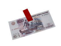 Russian  money. 500 rubles and adhesive tape isolated on white Stock Photo