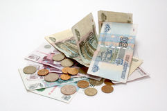 Russian money. Russian paper and metal money on the white background Royalty Free Stock Image