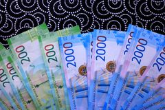 Russian money background, new 200 and 2000 rubles. russian money denomination.  stock image
