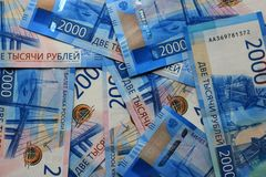 Russian money background, new 200 and 2000 rubles. russian money denomination.  royalty free stock photography