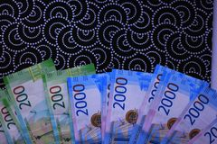 Russian money background, new 200 and 2000 rubles. russian money denomination.  stock photos
