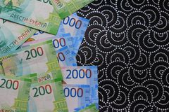 Russian money background, new 200 and 2000 rubles. russian money denomination.  royalty free stock photo