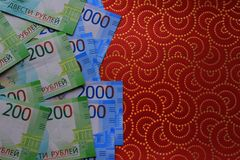 Russian money background, new 200 and 2000 rubles. russian money denomination.  royalty free stock photos