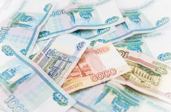 Russian money background. Ruble banknotes of Stock Images