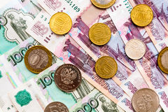 Russian money background. Rubles banknotes and coins Stock Photo