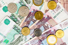 Russian money background. Rubles banknotes and coins Stock Image