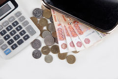 Russian money, calculator and purse Stock Photo