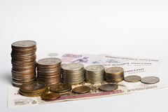 Russian money. Coins, Banknotes royalty free stock photo