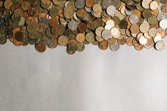 Russian money coins on the gray background, copy space stock photos