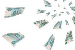 Russian money in flight. Stock Photo