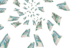 Russian money in flight. Royalty Free Stock Photography