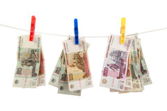 Russian money hangs on clothespins Royalty Free Stock Photography