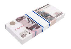 Russian money isolated on white background. Stock Photos