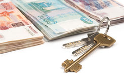Russian money and keys Stock Images
