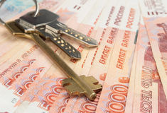 Russian money and keys Royalty Free Stock Image