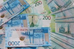 Russian money is lying on a white background stock image