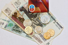 Russian money - notes and coins, and plastic card payment Royalty Free Stock Image