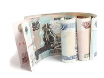 Russian money over white Royalty Free Stock Images