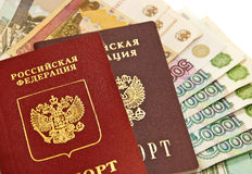 Russian money and passports. Russian money and two passports. Close-up objects Royalty Free Stock Photos