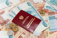 Russian money and a pension certificate Stock Image