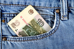 Russian Money in the Pocket Royalty Free Stock Images