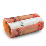 Russian money is rolled into a tube Stock Image
