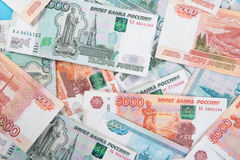 Russian money Rouble Banknotes background Royalty Free Stock Image