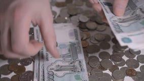 Russian money rubbles Hands count money slow motion footage. Russian money rubbles Hands count money slow motion hd footage stock video