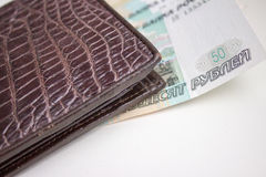 Russian money. (ruble)  in purse Royalty Free Stock Photos