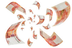 Russian money - rubles in the air. Royalty Free Stock Photo
