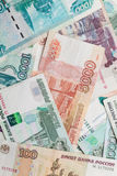 Russian money. Rubles banknotes closeup photo texture Royalty Free Stock Images