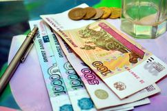 Russian money rubles. Russian money rubles on the table Stock Photo