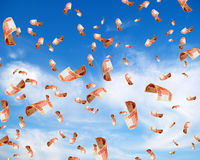 Russian money in sky. Royalty Free Stock Photos