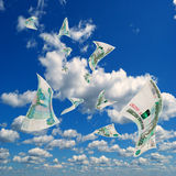 Russian money in sky. Royalty Free Stock Images