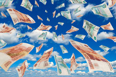 Russian money in the sky. Royalty Free Stock Photo