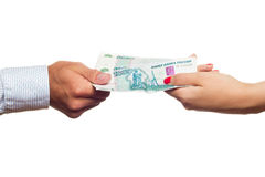 Russian money transfer from hand to hand. Stock Photo
