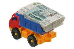 Russian money in the truck Royalty Free Stock Image