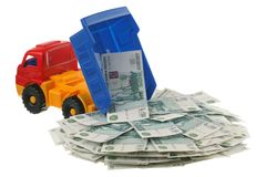 Russian money in the truck Royalty Free Stock Photography