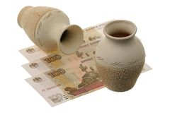 Russian money and two jugs Royalty Free Stock Image