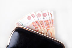 Russian money in the wallet Stock Photography