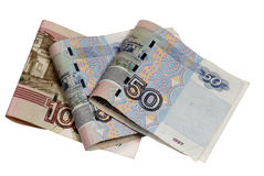 The Russian money on a white background Stock Photos