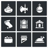 Russian Moscow ancient state and the Principality icons set. Vector Illustration. Vector  Flat Icons collection on a black background for design Royalty Free Stock Photo