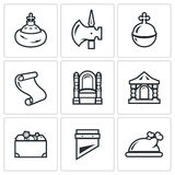 Russian Moscow ancient state and the Principality icons set. Vector Illustration. Vector Isolated Flat Icons collection on a white background for design Royalty Free Stock Photography