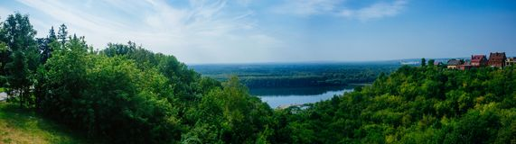 Russian Motherland -Ufa Belaya River Panorama. A view to the south-west from Ufa`s famous Salavat Yulayev Park with houses and vegitation Royalty Free Stock Photo