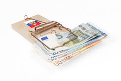 Russian mouse trap with Euro bill Royalty Free Stock Image