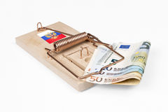Russian mouse trap with Euro bill Royalty Free Stock Photos