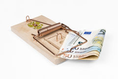 Russian mouse trap with Euro bill Stock Photo