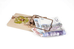 Russian mouse trap with Euro and Pound bills Stock Photography