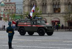 Russian multipurpose armored car `Tiger` military police at a rehearsal parade in honor of Victory day. MOSCOW, RUSSIA - MAY 6, 2018: Russian multipurpose Stock Photography