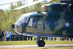 Russian multipurpose helicopter Mi-8.View of the front of the helicopter from the left side close-up stock photo